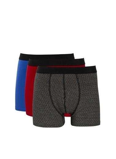 Defacto –Fit Yeni Yıl  Esnek Kumaş Standart Kalıp 3'lü Boxer Siyah